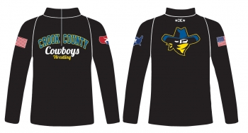 Crook County Cowboys Wrestling 1/4 Zip Jacket - Black