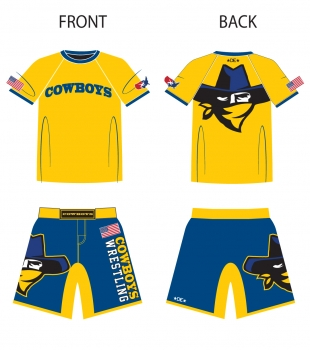 Cowboys Wrestling Rashguard and Fight Shorts Package
