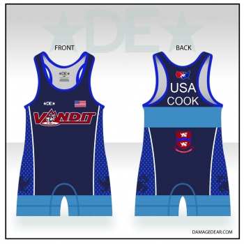 Vandit Blue High Cut Singlet with Name
