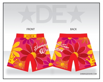 Ladies Damaged Ear Red Floral Fight Shorts