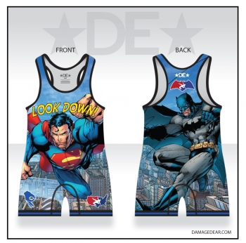 Steel vs Bat Look Down Mens Singlet