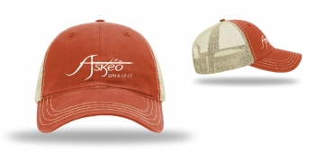 Askeo Washed Trucker Hat Orange/Khaki