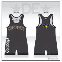 Crook County Cowboys Wrestling Singlet - Charcoal
