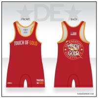 Touch of Gold Red Wrestling Singlet