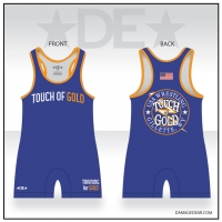 Touch of Gold Blue Wrestling Singlet