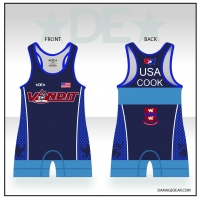Vandit Blue Womens Cut Singlet with Name