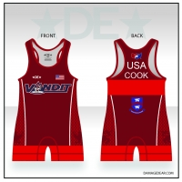 Vandit Red Womens Cut Singlet with Name