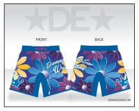Ladies Damaged Ear Blue Floral Fight Shorts