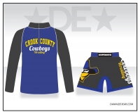 Crook County Blue 1/4 Zip and Charcoal Fight Shorts Package