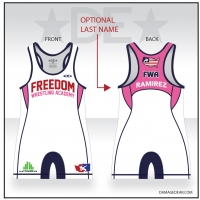 Freedom Wrestling Academy Womens White Singlet