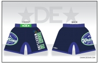 Damaged Ear Navy and Lime Fight Shorts