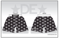 Mens Black and White Patterned Fight Shorts