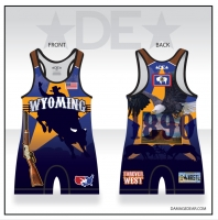 Wyoming Mens Bull Rider Singlet - Blue