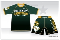 Northwest Christian Crusaders Rash Guard and Fight Shorts