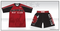 Red Devil Mat Club Rash Guard and Fight Shorts