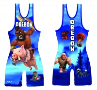 Blue 2015 Team Oregon High Cut Singlet